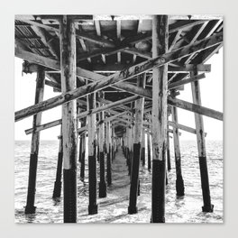 Balboa Pier Print {3 of 3} | Newport Beach Ocean Photography B&W Summer Sun Wave Art Canvas Print