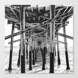 Balboa Pier Print {3 of 3} | Newport Beach Ocean Photography B&W Summer Sun Wave Art Canvas Print