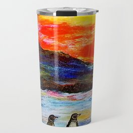 Beautiful Penguins With Sea Lion By The Blue Ocean Painting Travel Mug
