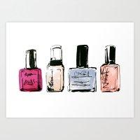 nail polish Art Prints featuring Nail Polish by Erin Marie Illustration