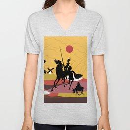 Don Quixote and Sancho Unisex V-Neck