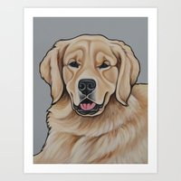 golden retriever Art Prints featuring Golden Retriever  by Cheney Beshara
