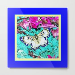 MODERN  PURPLE ORCHIDS & BLUE BUTTERFLY TURQUOISE Metal Print