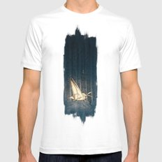 Moth To The Flame  White Mens Fitted Tee MEDIUM