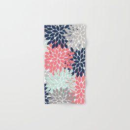 Flower Burst Petals Floral Pattern Navy Coral Mint Gray Hand & Bath Towel