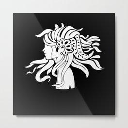 Flower Woman Wild Hair Artist Picture Metal Print