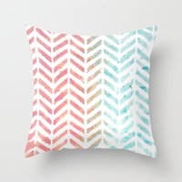 herringbone Throw Pillows featuring Herringbone by Chilligraphy