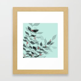 Leaves with Christmas Berries Framed Art Print