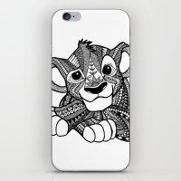 simba iPhone & iPod Skins featuring Zentangle Simba by ElFineLines