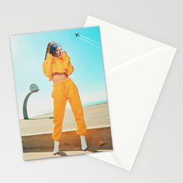 THE GIRL IN YELLOW JOGGERS Stationery Cards