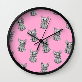 French Bulldogs PINK Wall Clock