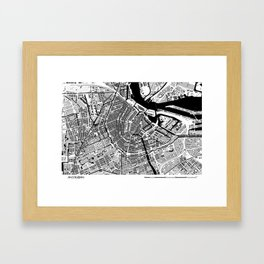 AMSTERDAM BLACK & WHITE MAP Framed Art Print