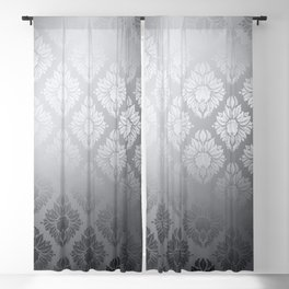 """Neutral gray Damask Pattern"" Blackout Curtain"