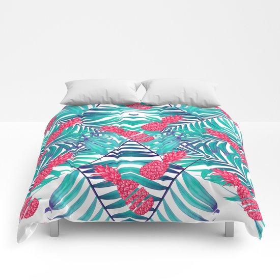 tropical pink ananas  Comforters