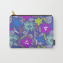 Electric Neon Floral Carry-All Pouch