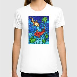 Pure Koi Joi - Mosaic Fish Art Painting by Sharon Cummings T-shirt
