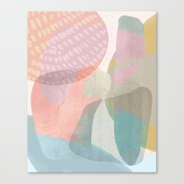 Shapes and Layers no.16 - Watercolor and pastel abstract painting Canvas Print