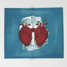 two hearts beating as one Throw Blanket
