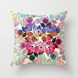 Pink and indigo flower pattern Throw Pillow