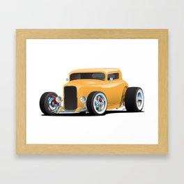 Classic American 32 Hotrod Car Illustration Framed Art Print