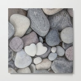 Heart Pebble Stone Mineral Love Symbol Metal Print