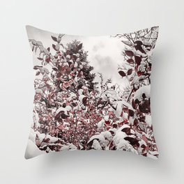 Fresh Snow On Red Leaves Throw Pillow