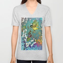 BIRD WITH CHERRY BLOSSOMS Unisex V-Neck