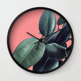 Ficus Elastica Summer Vibes #1 #coral #foliage #decor #art #society6 Wall Clock