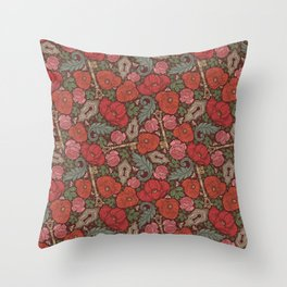 Red poppies and roses with golden keys on dark background Throw Pillow