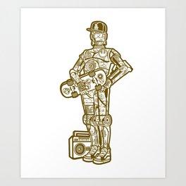 Cool Street C3PO man with skateboard gift image Art Print