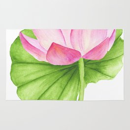 Lotus flower. Watercolor drawing Rug