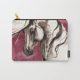 Andalusian horse on red background Carry-All Pouch