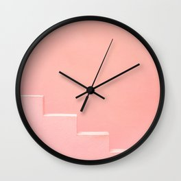 Pink steps of Muralla Roja Spain | Andalusia travel photography art pastel colored poster Wall Clock