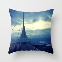 milwaukee Throw Pillows featuring Milwaukee Morning by Laughable Life