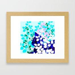 Blue Calico Cat Framed Art Print