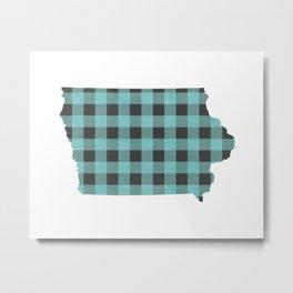 Iowa Plaid in Mint Metal Print
