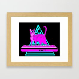 Pink Cat in Space Framed Art Print