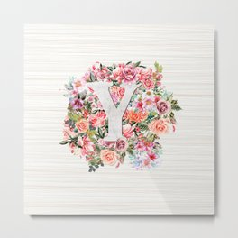 Initial Letter Y Watercolor Flower Metal Print