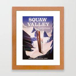 Squaw Valley California Ski poster. Framed Art Print