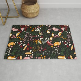 Birds and Flowers Pattern Rug