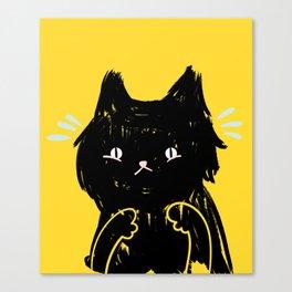 Scaredy Cat - Cute scared black kitty cat illustration Canvas Print
