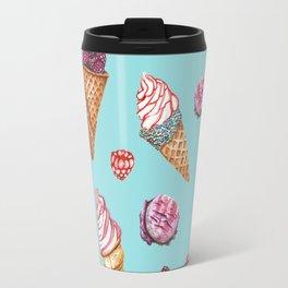 Pink and Blue ice cream pattern Travel Mug