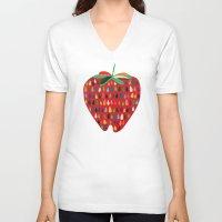 strawberry V-neck T-shirts featuring Strawberry by Picomodi