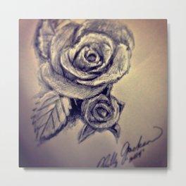 Pen Rose Metal Print