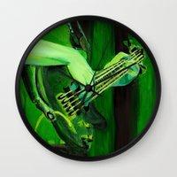 bass Wall Clocks featuring Bass by Juliana Marie