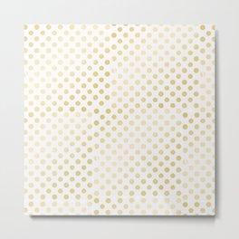 Vintage rustic faux gold white elegant polka dots pattern Metal Print