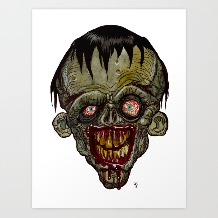 heads of the living dead zombies cartoon zombie art print - Zombie Pictures To Print