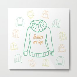 Knitters Are Tops - Pastel Metal Print