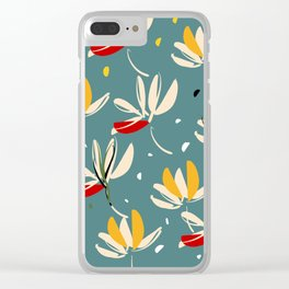 Vanilla flowers on ocean background Clear iPhone Case