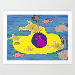 Purple Cat is in his submarine  Art Print